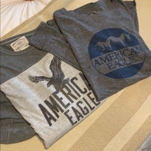 Two long sleeve tshirts American Eagle